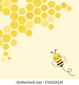 Abstract honeycomb with hexagon grid cells and cartoon bee on background vector illustration.