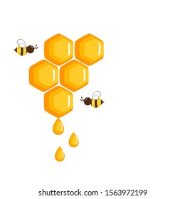 Abstract honeycomb, honey drops and cartoon flying bees isolated on white background. icon or logo vector illustration.