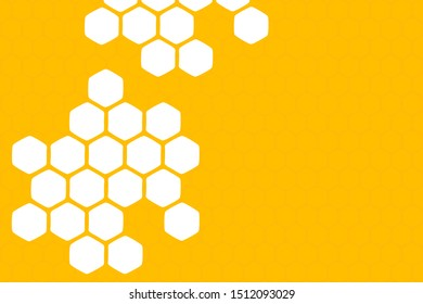 Abstract honeycomb on yellow background, flat design vector.