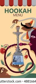 Abstract Hookah Bar Poster (Vector Art)