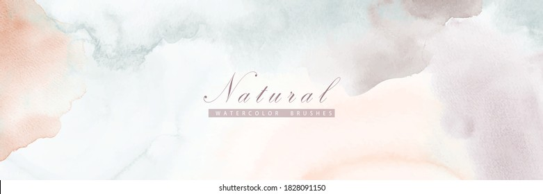 Abstract horizontal background designed with earth tone watercolor stains