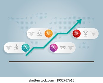 abstract horizontal  growth graph  infographics 4 steps with icon template for business and presentation vector illustration background