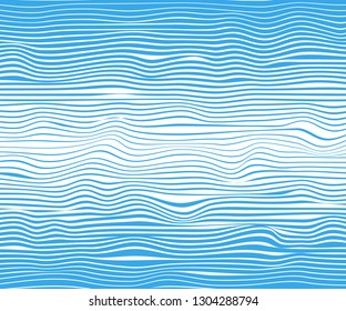 Abstract horizontal lines, blue wave, winding. Vector illustration template with the ability to overlay isolated white background.