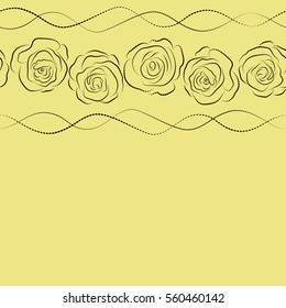 Abstract horizontal yellow and black english roses silhouette seamless pattern with copy space (place for your text).