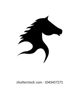Abstract Horse Head Silhouette in Black