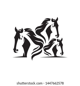 Abstract horse silhouette vector design illustration. Silhouette of horse with white background