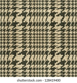 Abstract houndstooth check fabric texture. Seamless pattern. Vector.