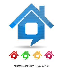 Abstract house icon shaped as speech bubble, vector eps10 illustration