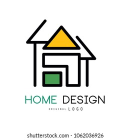 Abstract house for logo design. Original vector emblem for shop home decorative objects, interior decorators and designers