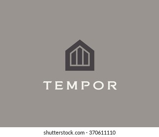 Abstract house logo design template. Premium real estate finance sign. Universal business foundation mount rock vector icon