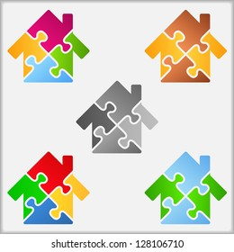 Abstract house made of puzzle pieces, five different colors, design elements for your logo, vector eps10 illustration