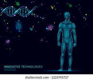 Abstract human body anatomy. DNA engineering science innovation superman technology. Genome health research cloning medicine low poly 3D render polygonal geometric virtual reality vector illustration