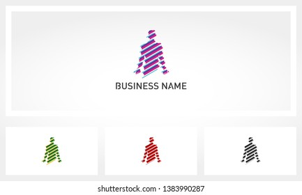 Abstract Human Body Striped Logo