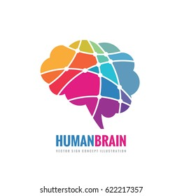 Abstract human brain - business vector logo template concept illustration. Creative idea colorful sign. Infographic symbol. Colored design element.