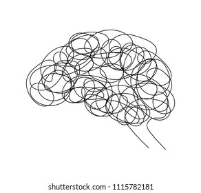 Abstract human brain doodle hand drawn style. Creative idea symbol, icon design. Vector illustration isolated on white background.