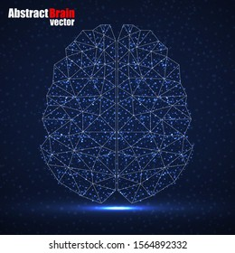 Abstract human brain of glowing particles, technology concept. Vector