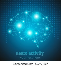 Abstract Human Brain Medical Logo,Neurology Anatomical Conception.Cerebral Geometric Brain and Cerebellum on blue dotted background w text Neuro Activity.Brain Thought lights shines as Brain works