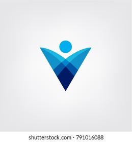 Abstract Human Business Modern Vector Logo