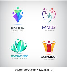 Abstract human character - vector logo template concept illustration. Set of people logos - family, business, healthy lifestyle, group.