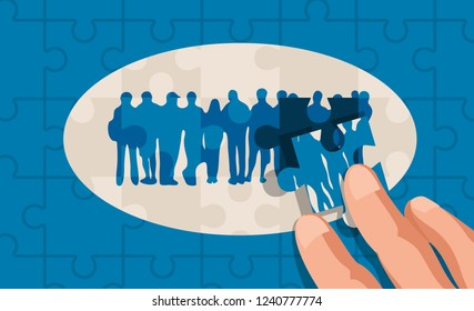 Abstract human crowd cooperation puzzle pieces concept, assembled with hands, vector illustration