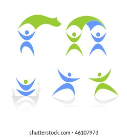 abstract human figures on a white background