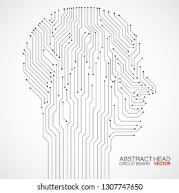 Abstract human head with circuit board. Technology concept. Vector