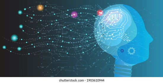 Abstract human head with a line brain network.circle and electricity with blue electronic cycle.Digital data,ai,ascience.Vector Technology background and Artificial intelligence concept.