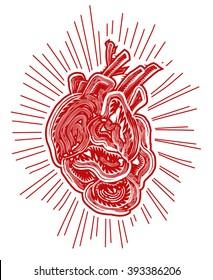 Abstract human heart, lino cut effect, vector illustration
