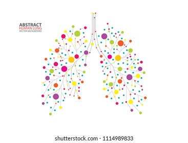 Abstract human lung vector with dots and lines