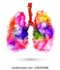 Abstract human lungs with multicolored polygon on white background