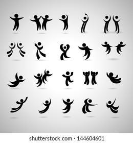 Abstract Human Symbols Set. Success, Celebration, Achievement - Isolated On Gray Background - Vector Illustration, Graphic Design Editable For Your Design. Logo Symbols