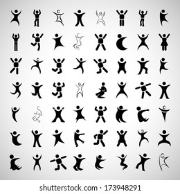 Abstract Human Symbols Set. Success, Celebration, Achievement - Activity - Isolated On Gray Background - Vector Illustration, Graphic Design Editable For Your Design.