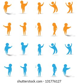 Abstract Human Symbols. Success, Celebration, Achievement, Upset, Thinking - Activity - Isolated On White Background - Vector Illustration, Graphic Design Editable For Your Design. People Logo