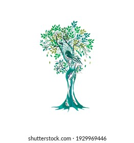 Abstract Human tree logo. Unique dryad Tree Vector illustration, hand drawn abstract tree with woman shape.