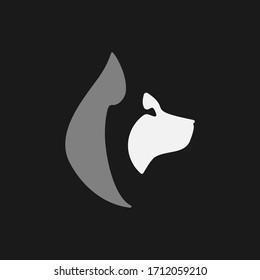 Abstract husky dog head side view portrait symbol on black backdrop. Design element