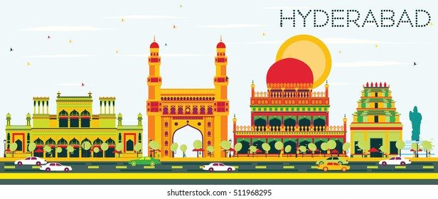 Abstract Hyderabad Skyline with Color Landmarks. Vector Illustration. Business Travel and Tourism Concept with Historic Architecture. Image for Presentation Banner Placard and Web Site.