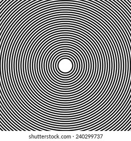 Abstract, hypnotic background on black and white, vector illustration
