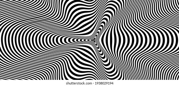 Abstract hypnotic pattern with black-white striped lines. Psychedelic background. Op art, optical illusion. Modern design, graphic texture.
