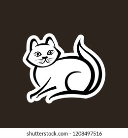 Abstract icon of a cat. Pet logo. Vector illustration. Cute domestic animal. Brown background.