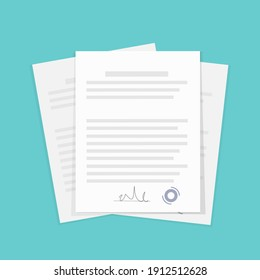 Abstract icon with documents on green background for report design. Vector flat illustration. Business concept. Illustration icon.