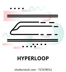 Abstract icon of future technology - hyperloop on color geometric shapes background, for graphic and web design