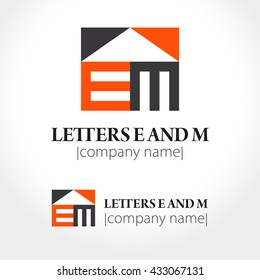 Abstract icon letters E and M. Logo design. Vector illustration.