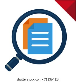 abstract icon for searching documents, illustrated with magnifying glass and documents