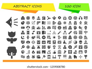 abstract icon set. 120 filled abstract icons. Simple modern icons about  - Eye, Tree, Flower, Flow chart, Cpu, Ornament, Fire, Shirt, Blood, Woman, Lock, Pokemon go, Alarm, Conversation