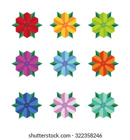 Abstract icon set of flower