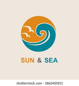 abstract icon of sun and sea with seagulls isolated