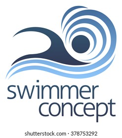 An abstract icon of a swimmer swimming in the water