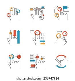 Abstract icons of common used multitouch and touch screen gestures for digital tablets or smartphone. Unusual flat design line icons set unique art vector illustration concept.
