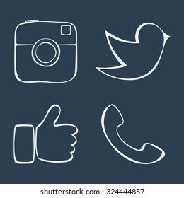 Abstract icons. Doodle social media icons. Like hand symbol, Digital camera, Messenger bird. Vector illustration.