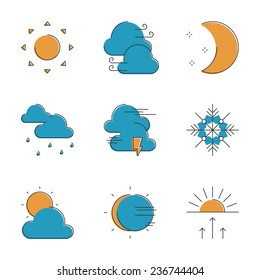 Abstract icons of local current weather conditions, including temperature, rain, wind speed, cloud, atmospheric pressure. Unusual flat design line icons set unique art vector illustration concept.
